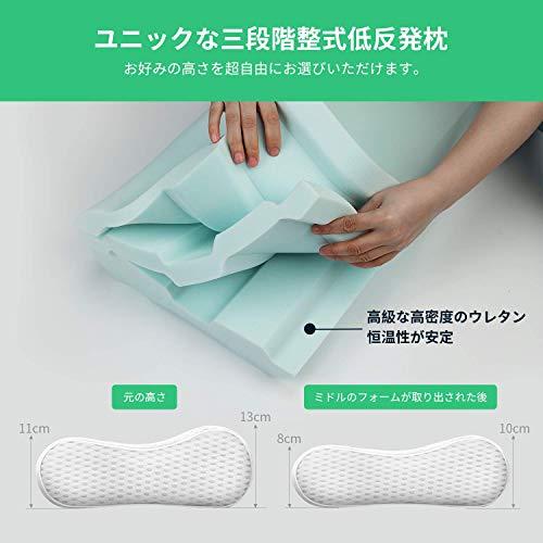 UTTU全米が愛用の低反発枕ユニークな三段階調整式枕安眠人気頚椎サポート肩こり対策ストレートネック改善いびき防止通気性抜群プレゼントまくら60×35cm
