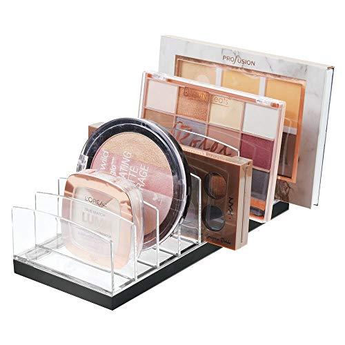 mDesign Kosmetik Organizer aus Kunststoff – Schminkaufbewahrung mit 9 Steckplätzen – Aufbewahrungsbox für den Waschtisch, Schminktisch oder Schrank – durchsichtig und schwarz