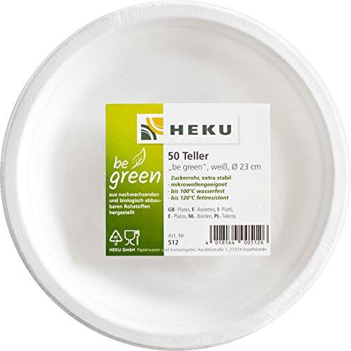 Heku 30512 Assiettes, Canne à Sucre, Blanc, 23 x 23 x 7,5 cm, 50 unités