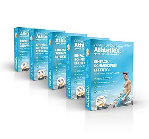 5er Pack (5x300g) Enthaarungscreme als Pulver - Capillum AMOVE AthleticX ohne synth. Zusatzstoffe mit Pflanzenteilen für sanfte Anwendung ohne Schmerzen