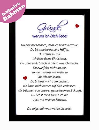 Bilderrahmen mit Liebeserklärung - Gründe warum ich dich liebe als Geschenk zu Weihnachten inkl. Rahmen aus Holz - Hochwertiger Druck DIN A4