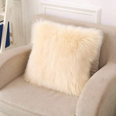 LIGICKY Luxury Series Soft Faux Fur Throw Pillow Cover Decorative Square Plush Pillow Case Cushion Cover for Couch Sofa Bed, 18' x 18' Beige