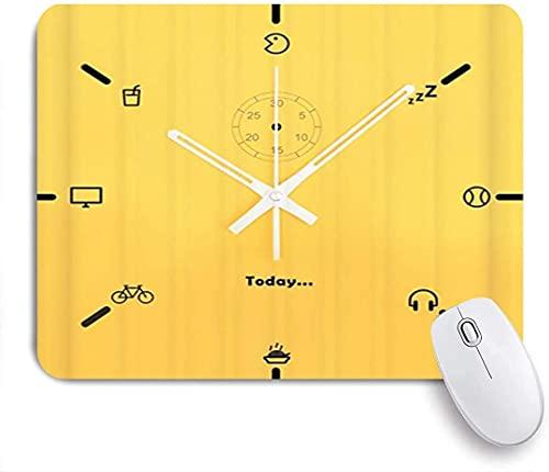 Alfombrilla para ratón para Juegos, Reloj para Auriculares Amarillo Blanco, Alfombrilla para ratón con Base de Goma Antideslizante para Ordenadores portátiles Alfombrillas para ratón - 25 cm x 20 cm