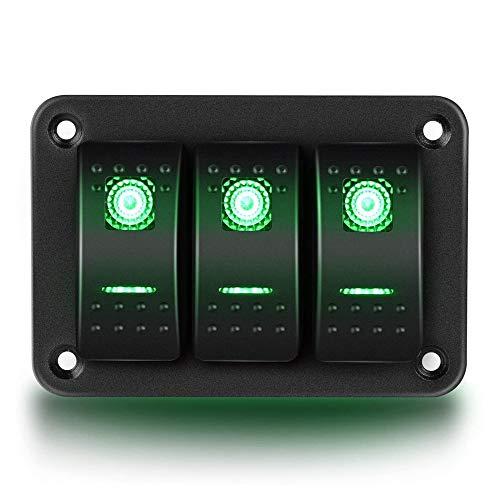 MiOYOOW Panel de interruptor basculante de 3 bandas, aluminio doble luz LED interruptor basculante basculante para auto RV barco marino