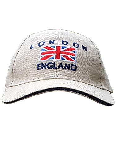 Casquette de baseball - avec drapeau Union Jack brodé avec London England - Couleur crème, Souvenir de Londres