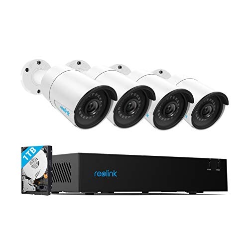 Reolink 4CH 4MP PoE-Security-Camera-System, 4pcs Wired 4MP Outdoor PoE IP Cameras, 4-Channel NVR with 1TB HDD for Home and Business 24/7 Recording