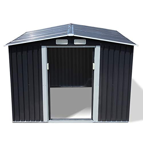 Storage Shed 8x8, Galvanized Steel Outdoor Sheds & Outdoor Storage for Garden Patio Backyard, Utility Metal Storage Sheds with Gable Rood and Sliding Door (Grey)