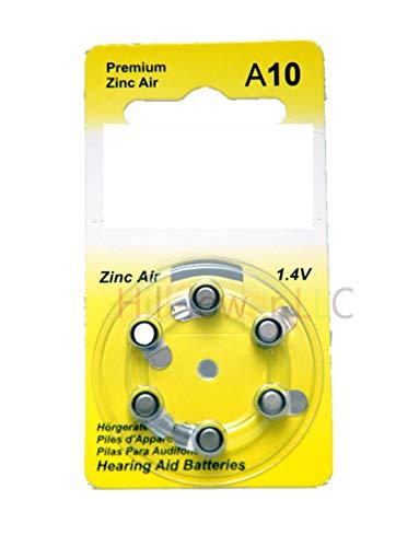 Hillflower 12 Pieces A10 Size 10 10A PR70 Card 1.45V Heavy Duty Long Duration Hearing Aid Zinc Air Battery