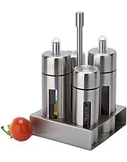 Antcher Juego básico de salero y pimentero de acero inoxidable y acrílico, 4 unidades