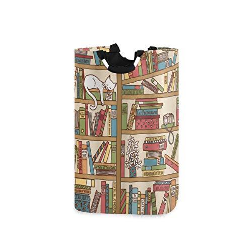 COFEIYISI Wäschesammler Wäschekorb Faltbarer Aufbewahrungskorb,Katze Nerd Buchliebhaber Kitty Schlafen Bücherregal Bibliothek Akademiker Feline Boho Design,Wäschesack - Wäschekörbe - Laundry Baskets