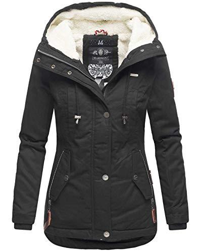 Marikoo warme Damen Winter Jacke Teddyfell gefütterte Winterjacke B802 [B802-Bik-Schwarz-Gr.M]