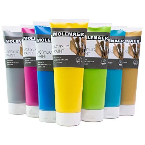 Molenaer Acrylfarben Set 7 Farben, 250 ml Tuben - gelb, magenta, blau, türkis, grün, gold, silber