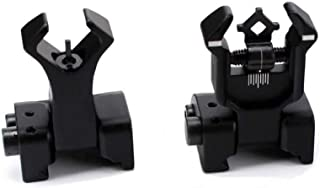 Aecktech Flip Up Backup Battle Sights Picatinny Mount Front & Rear Iron Sights Fits Picatinny & Weaver Rails Black