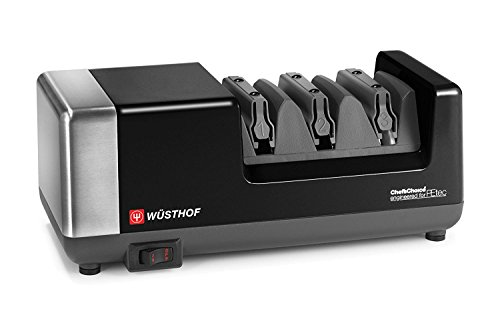 Wusthof 3-stage PEtec Electric Knife Sharpener (Black & Stainless Steel)