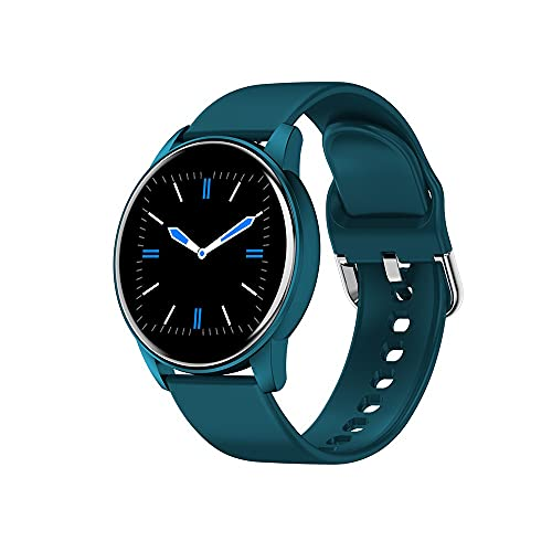 HanYuMaoYi reloj inteligente de tacto completo con frecuencia cardíaca reloj de silicona con múltiples diales Bluetooth llamada reloj (color: azul)
