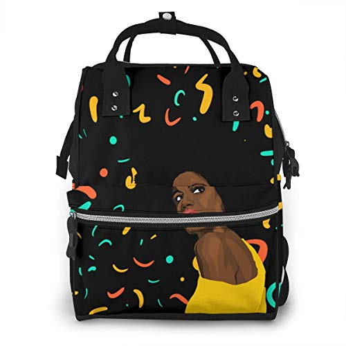 JUKIL Sac à dos à couches African American Black Woman Girl Diaper Bag Backpack Large Capacity for Hanging Out