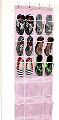 24 Pockets - SimpleHouseware Crystal Clear Over The Door Hanging Shoe Organizer, Pink