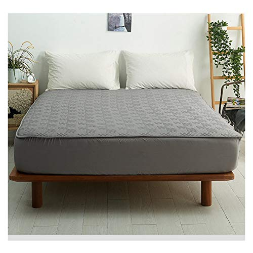 Sängkläder Premium Cotton Bäddmadrassen Med Kjolar Andas Vadderad Sängöverkast Tvättas I Maskin För Sovrum Hotels (Color : Dark gray, Size : 200x200+18cm)