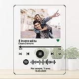 targa personalizzata musica con spotify code, foto stampa uv in plexiglass acrilico trasparente. foto anniversario san valentino