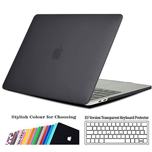 iNeseon Custodia MacBook Pro 15 (modello A1707 A1990), Plastic Case Sottile Copertina e Copertura della Tastiera per MacBook Pro 15 Pollici (2019 2018 2017 2016) con Touch Bar e Touch ID, Grigio Scuro
