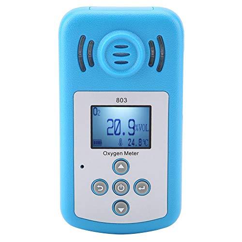 Detector de Concentración de Gas Portátil (O2) Detector de Gas de Gas con Pantalla Digital 803 en Color Azul con un Rango de -10 ℃ ~ + 50 ℃
