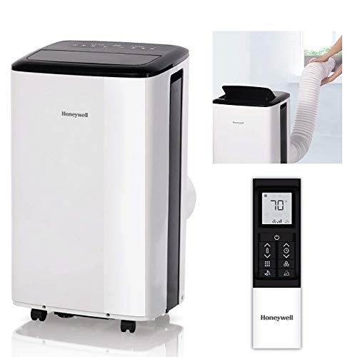Honeywell Compact Portable Air Conditioner w/Dehumidifier & Fan Cools Rooms Up to 350 Sq.Ft. w/Drain Pan & Insulation Tape, White (Renewed)