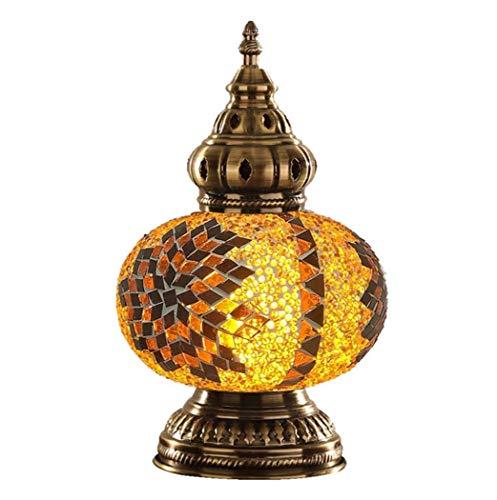 Yjmgrowing Turkse tafellampen mozaïek glas nachttafellamp Marokkaanse lantaarn Tiffany stijl nachtlampje met metalen voet voor woonkamerverlichting, E14 (18 * 30cm)