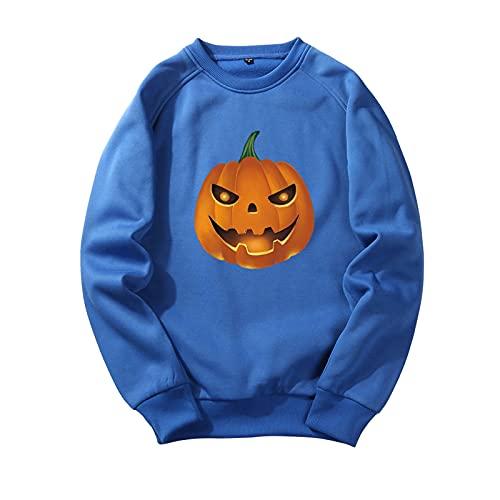 YingeFun Mens Graphics Hoodies Halloween Fleece Pullover Novelty Sport Sweatshirt Teen Plain Simple Tops Fall & Winter Blue