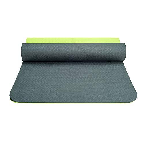 JUODVMP Esterilla Yoga Antideslizante con Correa para el Hombro y Bolsa de Transporte Colchoneta Fitness Multifunción Esterilla Yoga Gruesa,183x80x0.8CM-Verde + Verde Claro