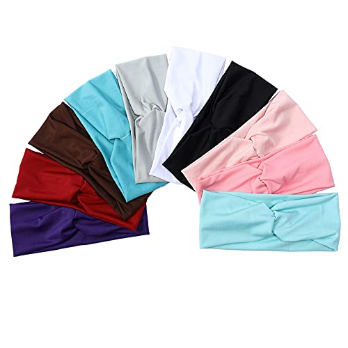Wide Headbands for Women Non Slip Knit Elastic Headbands for Women Girls Boho Cute Hair Wrap Accessories Solid Color Hair Bands 10pcs