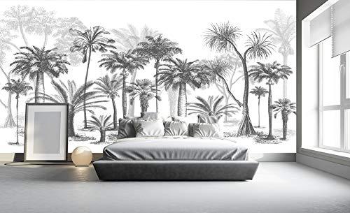 A-Gavvzq Papier Peint Panoramique jungle Soie, 350 x 250 cm, noir et blanc Sketch Tropical Rainforest Coconut Tree Poster Geant Mural Personnalisé 3D pour Salon Chambre Décoration Murale (Fond gris)