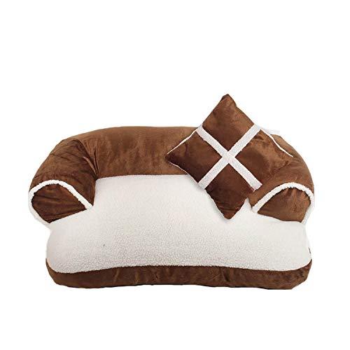 star-xing Hundebett Bequemes Haustier Sofa Warm Soft Velvet Großes Hundebett Welpenhaus Zwinger Gemütliches Katzennest Schlafmatte Kissen Haustier Bettwäsche-Braun-60x40cm,