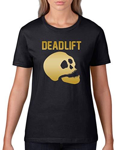 Comedy Shirts - Dead Lift - Halloween - Damen T-Shirt - Schwarz/Gold Gr. 3XL