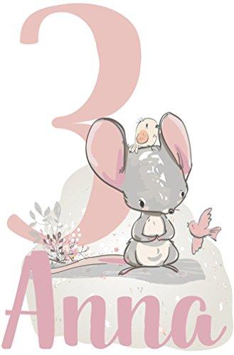 wolga-kreativ Bügelbild Applikation Aufbügler 1 2 3 4 5 6 Geburtstag süßer Maus Name Buchstaben Zahl Mädchen zum selbst Aufbügeln A5 Geburtstagsshirt Kindergeburtstag Bügelbilder Kinder