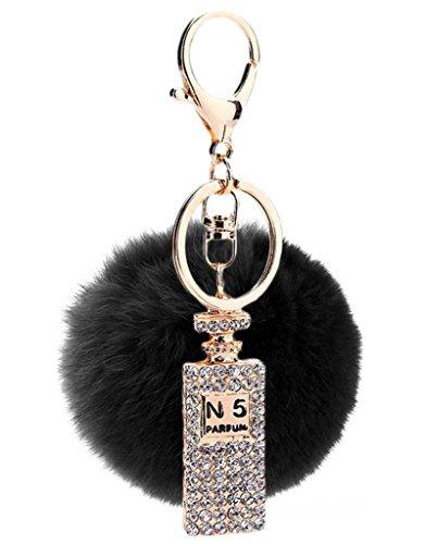 Sumolux Schlüsselanhänger Taschenanhänger Geburtstagsgeschenk mit Plüsch Kugel Ornament Schwarz