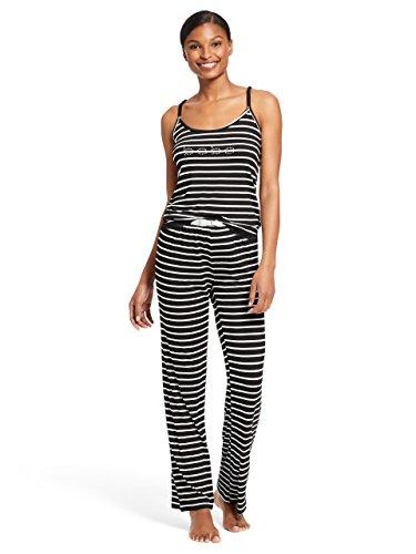 bebe Womens 2 Piece Sleeveless V-Neck Striped Top Pants Pajama Lounge Set Black Large