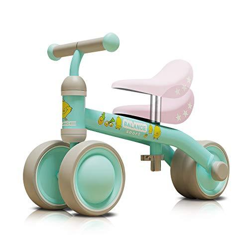 OLYSPM Bicicleta Sin Pedales para Niños 10-36 Meses,Triciclos Bebes,Correpasillos Bebes De Sillín Ajustables,Bicicleta Infantil Sin Pedales(Verde Claro)