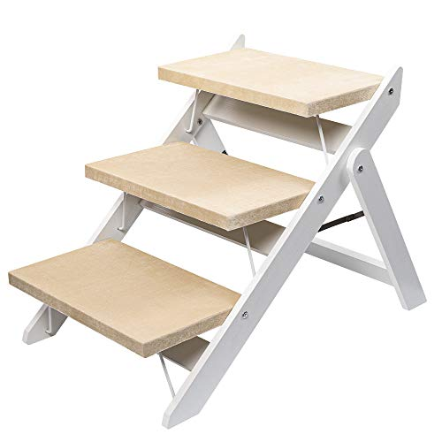 Niubya Wooden Foldable Dog Stairs, Portable 2-in-1 Pet Ramp for Small to Large Dogs and Cats, Nonslip 3-Step Dog Steps for High Beds, Couch and Cars, Up to 110 Pounds