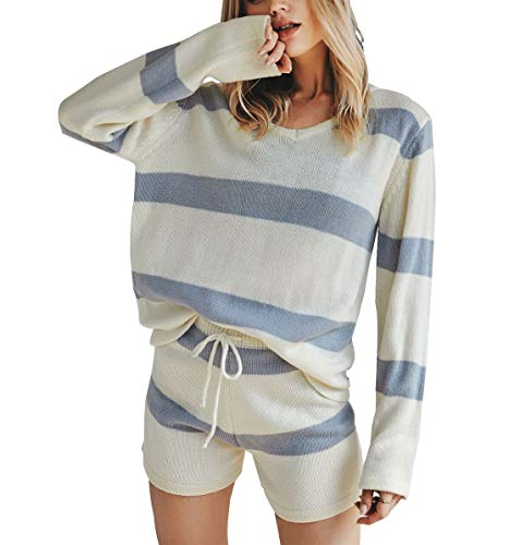 2Piece Women's Casual Sweater Sets,Long Sleeve Knit Stripe Pullover Top Drawstring Shorts Pants Jumpsuits Romper Blue