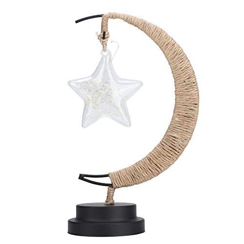 LED-nachtlampje, koperdraad 20LED Pentagram-lantaarns Handgemaakt henneptouw IJzeren nachtlampje voor thuis woonkamer(Warm)