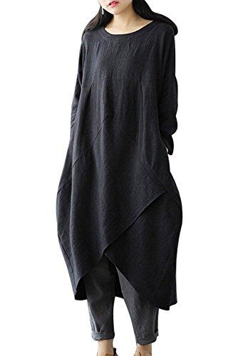 MAGIMODAC Leinenkleid Damen Sommer Lang Tunika Kleid Vintage Baggy Party Kleider Maxikleid Strandkleid Große Größe Gr.38-50 (Schwarz, Etikett 4XL/DE 48)