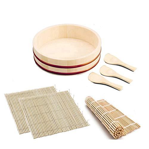 Sushi Oke Wooden Hangiri Bamboo Mat Rice Paddle Set #CD-480