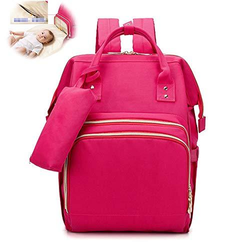 Doppelschulter Mami Tasche Multifunktions-Babytasche Mit Großer Kapazität Tragbare Kleine Kosmetiktasche Windel Babyrucksack,Rosa