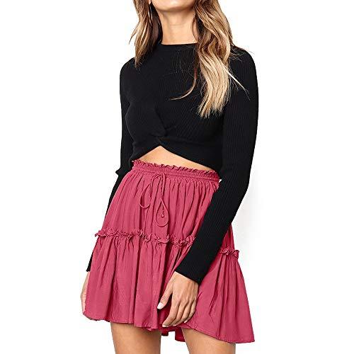 MOMOXI Faldas para Mujer,Falda Corta para Mujer Plisada Gasa Falda Corta tutú Baile Mujer Wrap Cuadros De Impresión Cintura Alta Volantes Irregular Falda Cortas De Moda Faldas Mini