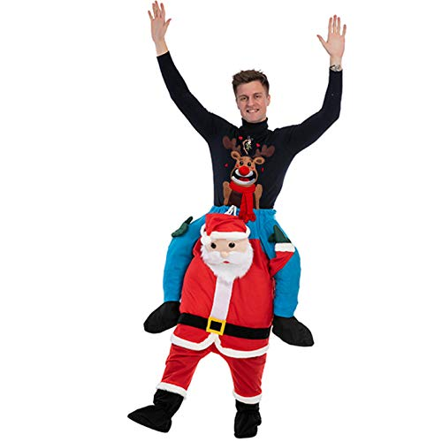 Christmas Costume Piggy Back Funny Piggyback Costume for Adults with Stuff Your Own Legs for Christmas Season Red