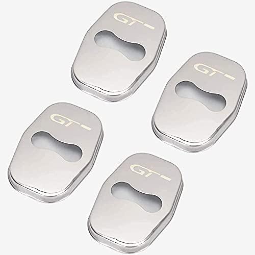 BAQIU 4 Piezas de Cubiertas de Cerradura de Puerta de Coche de Acero Inoxidable para Peugeot 206, 207, 306, 307, 308, 408, 508, 3008, 4008, 5008, Accesorios de protección antióxido para automóviles