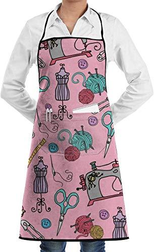 YJWLO Cartoon-Nähmuster, Unisex, Küchenschürze, Lätzchen mit Taschen zum Kochen, Backen, Basteln, Gartenarbeit, Grillen