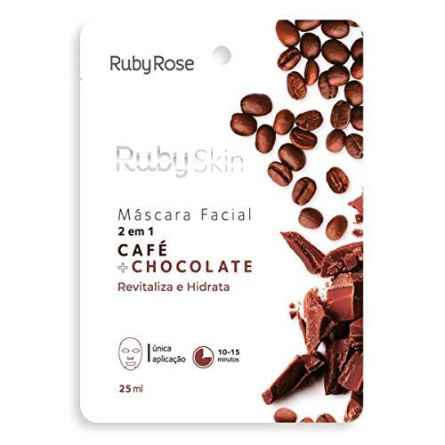 Máscara Facial De Tecido Skin Ruby Rose CAFÉ + CHOCOLATE HB-709