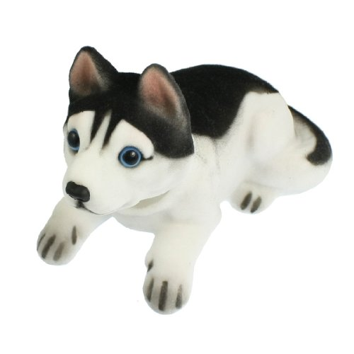 Sourcingmap Cabeza Oscilante Husky Forma Ornamento para Coche Blanco Negro 15cm