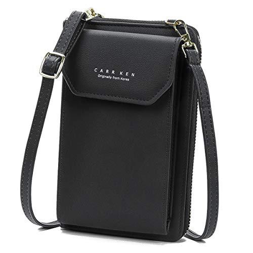 Borsa a tracolla da donna, elegante custodia per cellulare, piccola borsa a tracolla, in pelle PU, con scomparti per carte di credito, tracolla regolabile
